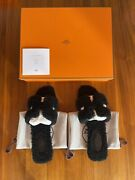 Hermes Oran Shearling Sandals Black Size 37 Bnib Sold Out Rare
