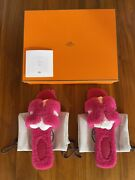 Hermes Oran Shearling Sandals Bright Pink Fuscia Size 37 Bnib Sold Out Rare