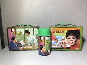 Vintage 1969 Julia Tv Show Metal Lunch Box And Thermos - 2 Boxes 1 Thermos