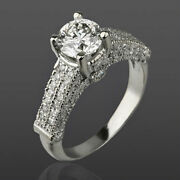 Diamond Round Cut Ring 2.21 Ct Accented 18k White Gold Genuine Size 4.5 5 6 7 8