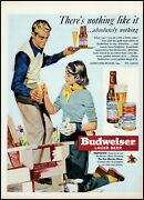 1950 Budweiser Lager Beer Woman Painting Lawn Chair Retro Art Print Ad Adl9