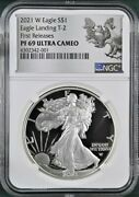 2021 W Proof Silver Eagle Type 2 21ean Ngc Pf69uc Fr Silver Designs Label
