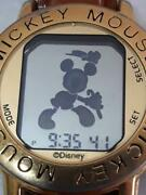Disney Dancing Mickey Mouse Digital Watch Rat002 Tan Leather Goldtone Tested