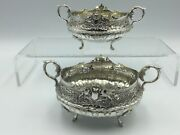 Victorian Solid Silver Continental Heavy Pair Of Salts, Lond C1889, 321 Grams