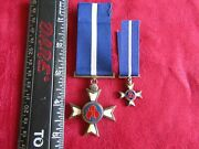 South African Military Pro Merito Decoration Full Size And Miniature - Silver