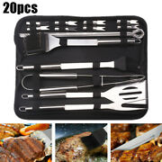 20 Pcs Bbq Grill Cooking Utensil Tools Set Stainless Steel Barbecue With Case