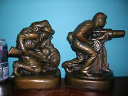 Antique Wwi Army Navy Soldier Sailor Military Bookends Armor Bronze Clad1920