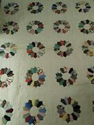 Vintage 50and039s 60 And039s Dresden Plate Quilt Hand Stitched Estate Sale Find 67x84