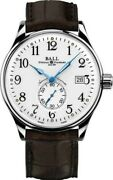 Authorized Dealer Ball Nm3888d-ll1cj-wh Trainmaster Alligator Strap 40m Watch