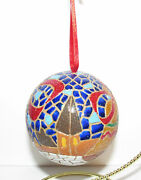 Mosaic Stained Glass Look Christmas Ornament Bells Church