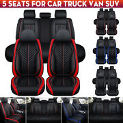 5d Luxury Auto Car Seat Cover Full Set Waterproof Pu Leather Front+rear Cushion