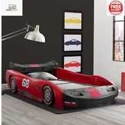 Boys Red Turbo Race Car Twin Plastic Toddler Race Car Bed Kid Child Bedroom New