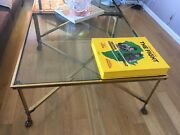 Coffee Table Bronze-brass-glass 41x41x60andnbspgreat Condition1sale
