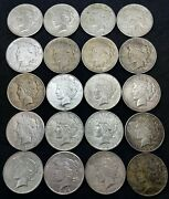Roll Lot Of 20 Us 1 Silver Peace Dollar 1922-1923 Circulated, Mixed Mint.