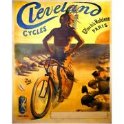 Cycles Cleveland Poster Vintage Bike Fine Art Bicycle Cycling Poster 18 X 24