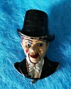 Antique Rare C1930s Enamel Metal Charlie Mccarthy Dummy Clip With Moving Mouth