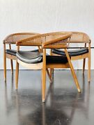 Mid Century Modern Cane Back Barrel Chair Three Available