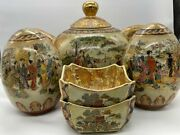 Vintage Hand Painted Procelain 5 Piece Satsuma Set - Made In China
