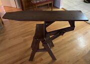 Solid Oak Amish Made Chair Step Stool Ladder And Ironing Board 3 In 1