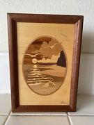 Hudson River Inlay Wooden Marquetry Picture Seashore By Jeff Nelson