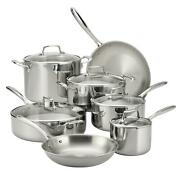 12-piece Tri-ply Clad Stainless Steel Cookware Set Tempered Glass Lids Kitchen