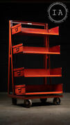 Industrial Antique Rolling Storage Cart With Removable Bins In Red