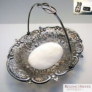Beautiful Antique 19th-century Chinese Export Solid Silver Bowl/dish/basket Bat
