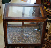 Vintage Oak Store Display Cabinet For Antique Jewelry Stores Etc.