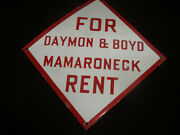 Vintage Porcelain Real Estate Advertising Sign Daymon And Boyd Mamaroneck Ny Rent