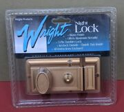 New Wright Products Night Lock Brass Finish Security Turn Lock W/ Hardware Nos