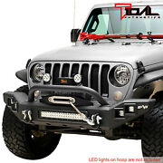 Tidal Led Front Bumper Heavy Duty With D-ring Fit For 18-21 Jeep Jl Wrangler