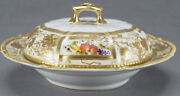 Nippon Hand Painted Fruit Flowers And Heavy Gold Beaded Covered Pan Cake Dish