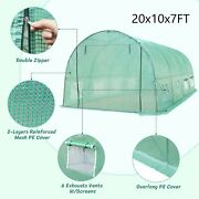 20x10x7ft Greenhouse Outdoor Walk-in Hot Green House Portable Plant Gardening Us