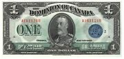 Dominion Of Canada Unc 1 Dollar 1923 P-33h Dc-25h Blue Seal Mccavour Banknote
