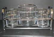 Godinger Silver Art Co. Bar Set - Crystal Ice Bucket Tongs Tumblers And Caddy