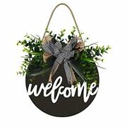 Welcome Sign Front Door Round Wood Sign Hanging Farmhouse Porch Decoration