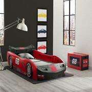 Race Car Bed For Kids Children Twin Size Turbo Frame Bedroom Furniture Red