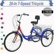 Unisex Tricycle 26-inch 7-speed 3-wheels Bike With Large Rear Basket And Backrest