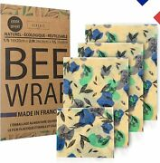 4 Pcs Bee Wrap Made In France 3+1 Offert Emballage Alimentaire Randeacuteutilisable