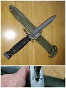 Nos Un-issued Usgi Boc Bauerm7 Military Bayonet Fighting Knife And Scabbard