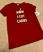 Bnwt Lularoe Red Maroon How I Cut Carbs Pizza Graphic Liv Tee Size X-large