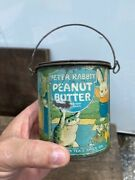 Vintage Advertising Peter Rabbit Candy Peanut Butter Tindeco Tin Pail With Lid