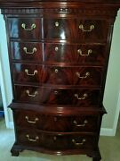 Thomasville Flame Mahogany Georgian Chippendale Tall Chest On Chest Beautiful