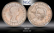 1963 New Zealand 1 Schilling Ngc Ms 67 Color Toned Finest Known