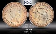 1964 New Zealand 1 Schilling Ngc Ms 66 Star Only 3 Graded Higher Color Toned