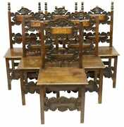 Antique Chairs, Side, Baroque Style, Six, Inlaid Carved Walnut Chairs, 1900's