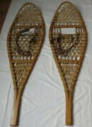 Vintage Tubbs No 74 Snowshoes Light Use Condition Orig Leather Binding 13 X 48