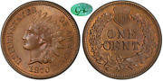 1870 Indian Head Cent Pcgs Ms65bn Cac Pop 14/0 Cac 3/1 Lustrous Fields W/red
