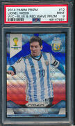 2014 Panini Prizm World Cup Blue Red Wave Lionel Messi Psa 9
