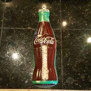 Vintage Coca-cola Bottle Metal Advertising Thermometer Sign Donasco Near Mint